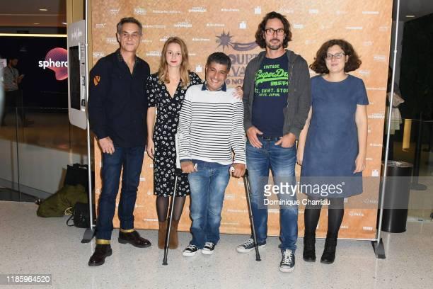 Allan Mauduit, Tiphaine Daviot, Adda Abdelli, Bertrand deve and Segollene Zaug attend the Paris Courts Devant Festival At Cinema 7 Batignolles on...