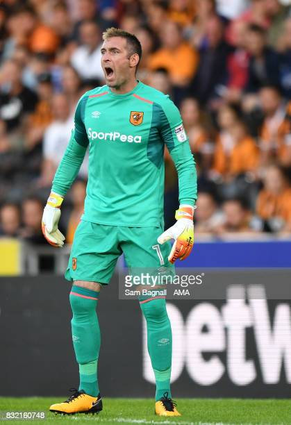 Allan McGregor of Hull City during the Sky Bet Championship match between Hull City and Wolverhampton at KCOM Stadium on August 15 2017 in Hull...