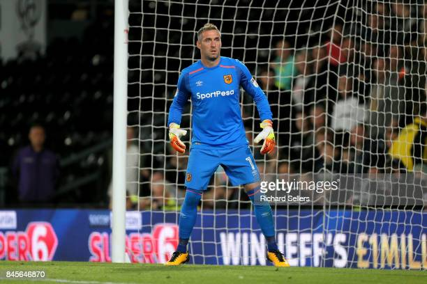 Allan Mcgregor of Hull city during the Sky Bet Championship match between Derby County and Hull City at the Derby County's Pride Park stadium on...