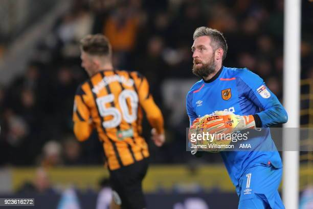 Allan McGregor of Hull City during the Sky Bet Championship match between Hull City and Sheffield United at KCOM Stadium on February 23 2018 in Hull...