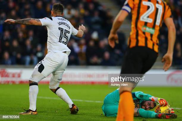 Allan McGregor of Hull City saves a shot from Derby County's Bradley Johnson during the Sky Bet Championship match between Hull City and Derby County...