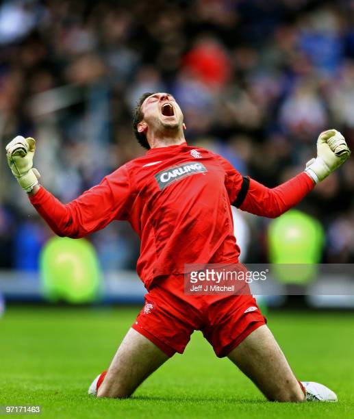Allan McGregor of Rangers celebrates after Maurice Edu scored during the Scottish Premier League match between Rangers and Celtic at Ibrox stadium on...