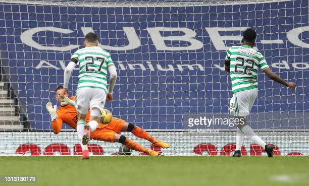 Allan McGregor of Rangers saves a penalty from Odsonne Edouard of Celtic during the Scottish Cup game between Rangers and Celtic at Ibrox Stadium on...