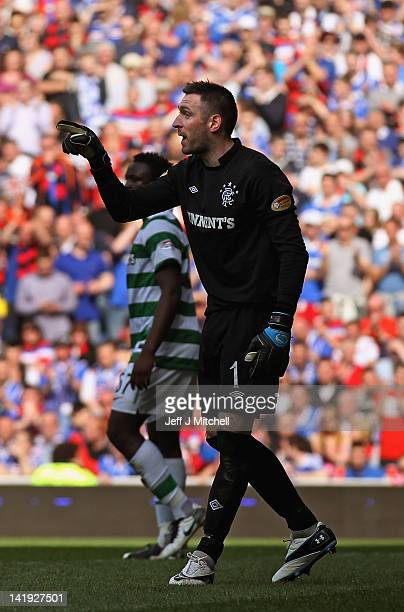 Allan McGregor of Rangers signals during the Scottish Clydesdale Bank Scottish Premier League match between Rangers and Celtic at Ibrox Stadium on...