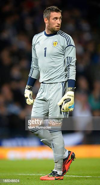 Allan McGregor of Scotland in action during the FIFA 2014 World Cup Qualifying Group A match between Scotland and Croatia at Hampden Park on October...