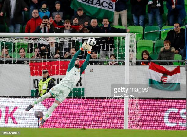 Allan McGregor of Scotland saves the shot during the International Friendly match between Hungary and Scotland at Groupama Arena on March 27, 2018 in...