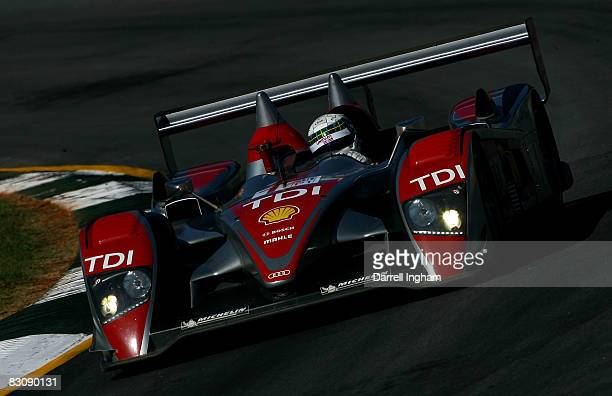 Allan McNish drives the LMP1 Audi Sport North America Audi R10 TDI during practice for the American Le Mans Series Petit Le Mans on October 2, 2008...