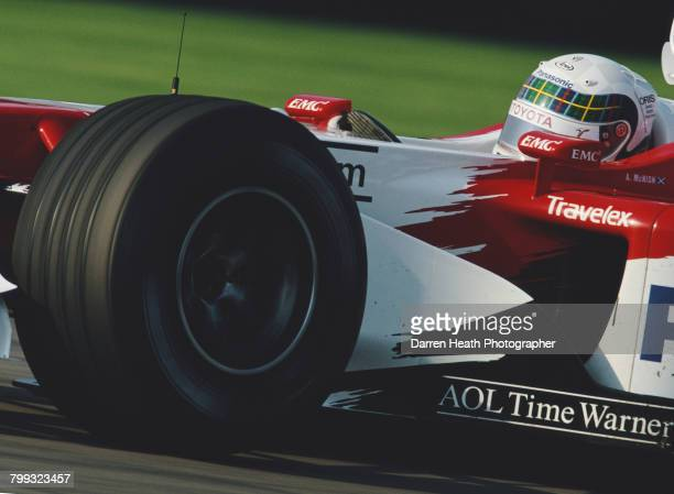 Allan McNish of Great Britain drives the Panasonic Toyota Racing Toyota TF102Toyota RVX-02 V10 the Formula One United States Grand Prix on 29...