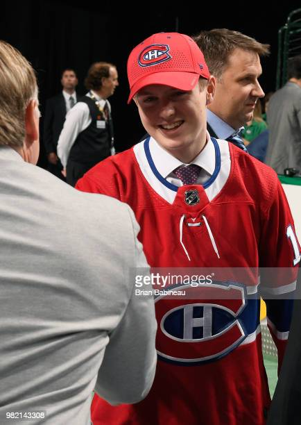 Allan McShane greets his team after being selected 97th overall by the Montreal Canadiens during the 2018 NHL Draft at American Airlines Center on...
