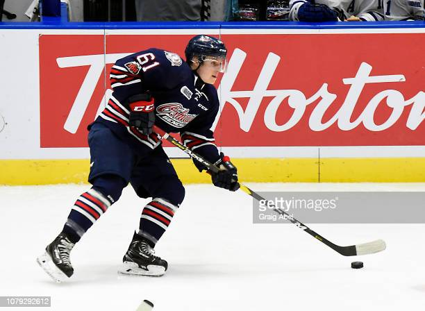 Allan McShane of the Oshawa Generals controls the puck against the Mississauga Steelheads during OHL game action on December 7 2018 at Paramount Fine...