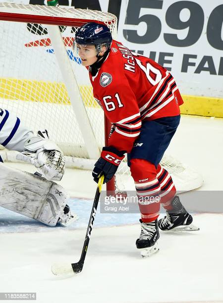 Allan McShane of the Oshawa Generals skates against the Mississauga Steelheads during game action on October 25 2019 at Paramount Fine Foods Centre...