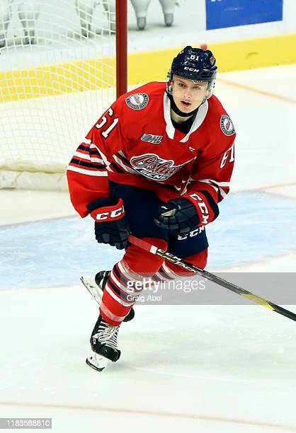 Allan McShane of the Oshawa Generals skates against the Mississauga Steelheads during game action on October 25, 2019 at Paramount Fine Foods Centre...