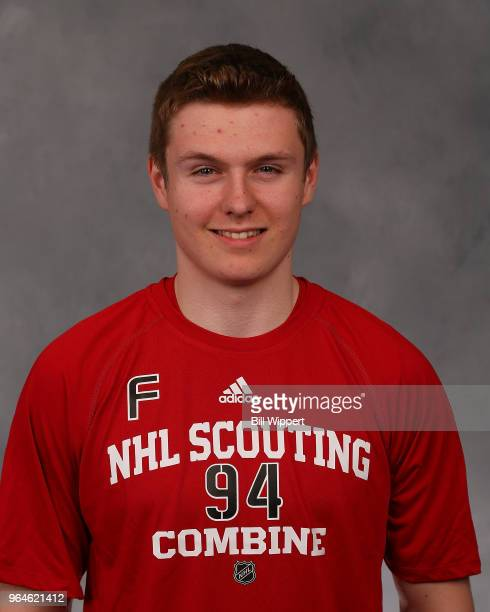 Allan McShane poses for a headshot at the NHL Scouting Combine on May 31 2018 at HarborCenter in Buffalo New York