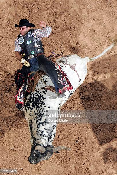 Allan Moraes of Brazil is thrown Dippin XS Energy during the Professional Bull Riders World Finals at Mandalay Bay Casino and Hotel October 29 2006...