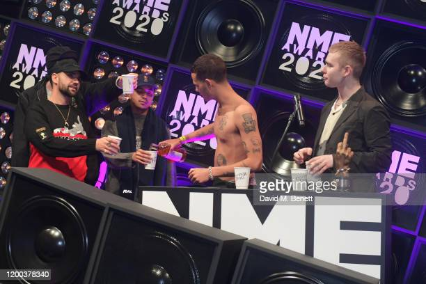 Allan Mustafa Daniel Sylvester Woolford Jason Clarke and Mura Masa attend The NME Awards 2020 at the O2 Academy Brixton on February 12 2020 in London...