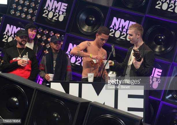 Allan Mustafa Steve Stamp Daniel Sylvester Woolford Slowthai and Mura Masa attend The NME Awards 2020 at the O2 Academy Brixton on February 12 2020...