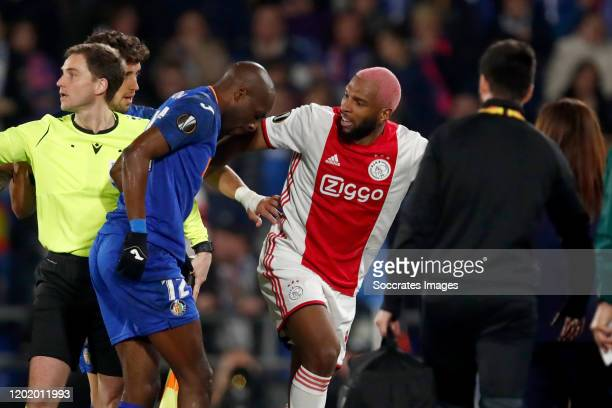 Allan Nyom of Getafe Ryan Babel of Ajax during the UEFA Europa League match between Getafe v Ajax at the Coliseum Alfonso Perez on February 20 2020...