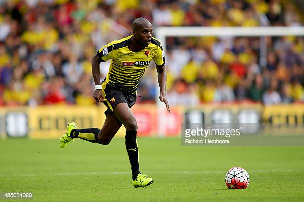 Allan Nyom of Watford in action during the Barclays Premier League match between Watford and Southampton at Vicarage Road on August 23 2015 in...
