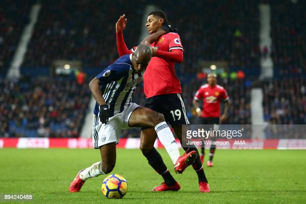Allan Nyom of West Bromwich Albion and Marcus Rashford of Manchester United during the Premier League match between West Bromwich Albion and...