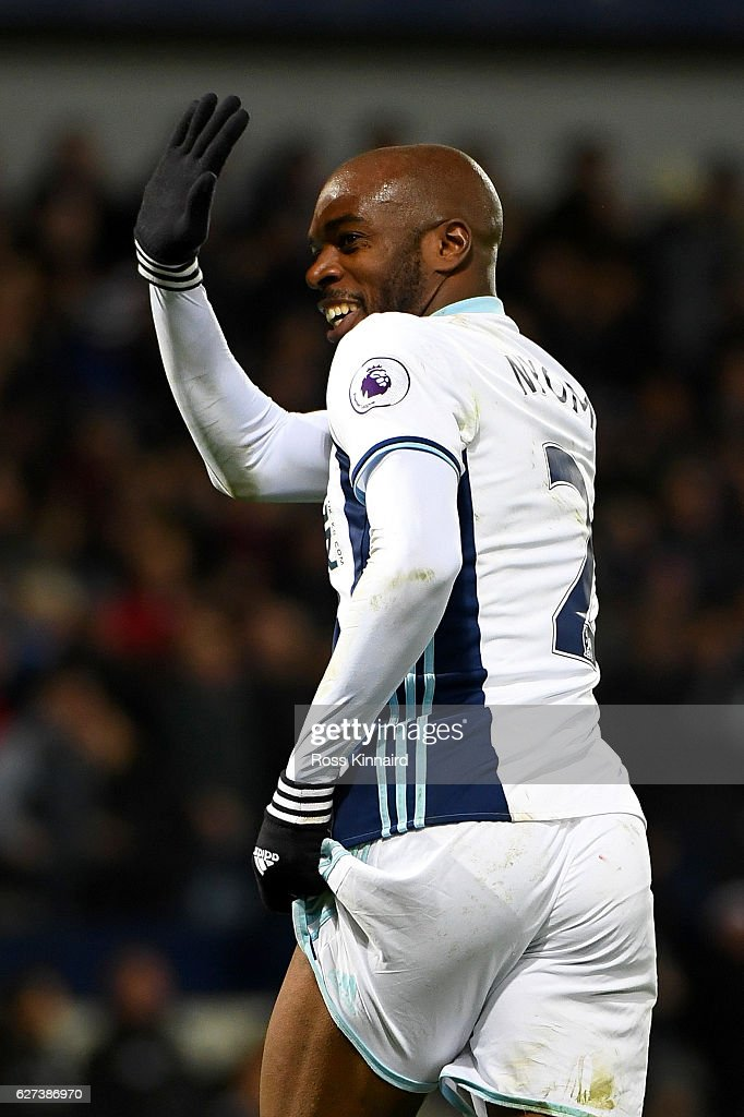 Allan Nyom of West Bromwich Albion celebrates during the Premier League match between West Bromwich Albion and Watford at The Hawthorns on December 3, 2016 in West Bromwich, England.