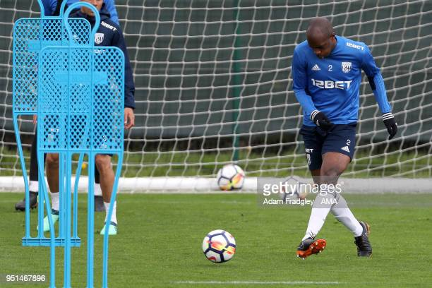 Allan Nyom of West Bromwich Albion during a West Bromwich Albion Training Session on April 26 2018 in West Bromwich England