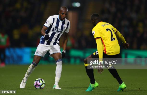 Allan Nyom of West Bromwich Albion during the Premier League match between Watford and West Bromwich Albion at Vicarage Road on April 4 2017 in...