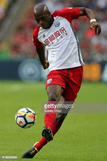Allan Nyom of West Bromwich Albion in action during the Premier League Asia Trophy match between Leicester City and West Bromwich Albion at Hong Kong...