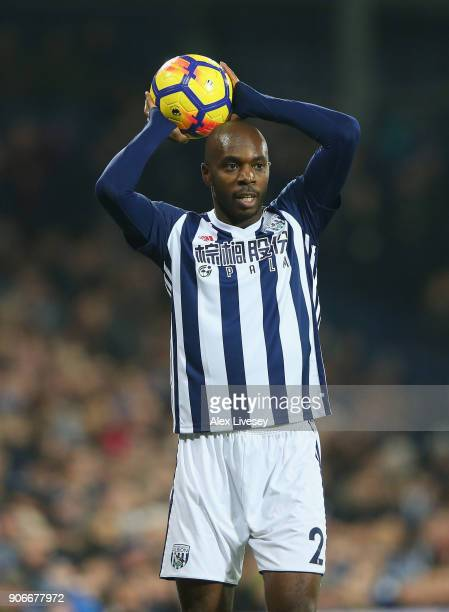 Allan Nyom of West Bromwich Albion takes a throw in during the Premier League match between West Bromwich Albion and Brighton and Hove Albion at The...