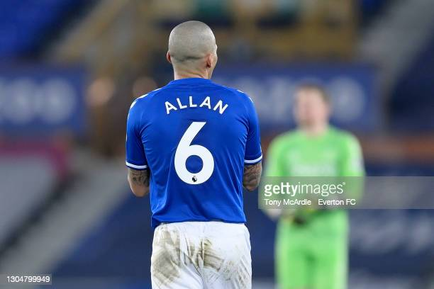 Allan of Everton during the Premier League match between Everton and Southampton at Goodison Park on March 2021 in Liverpool, England.
