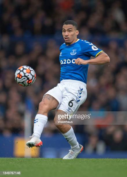 Allan of Everton in action during the Premier League match between Everton and Watford at Goodison Park on October 23, 2021 in Liverpool, England.