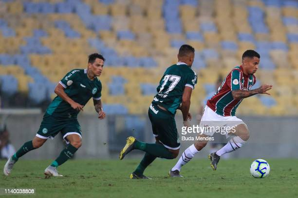 Allan of Fluminense drives the ball against Kayke of Goias during a match between Fluminense and Goias as part of Brasileirao Series A 2019 at...