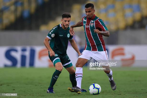 Allan of Fluminense kicks the ball against Leandro Barcia of Goias during a match between Fluminense and Goias as part of Brasileirao Series A 2019...