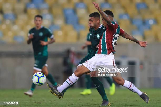 Allan of Fluminense struggles for the ball with Kayke of Goias during a match between Fluminense and Goias as part of Brasileirao Series A 2019 at...