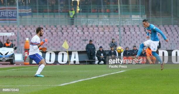 Allan of Napoli and Emiliano Viviano of Sampdoria during the Italian Serie A football match at the San Paolo stadium between SSC Napoli and AC...