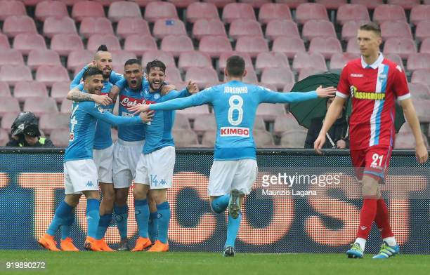 Allan of Napoli celebrates the opening goal during the serie A match between SSC Napoli and Spal at Stadio San Paolo on February 18 2018 in Naples...