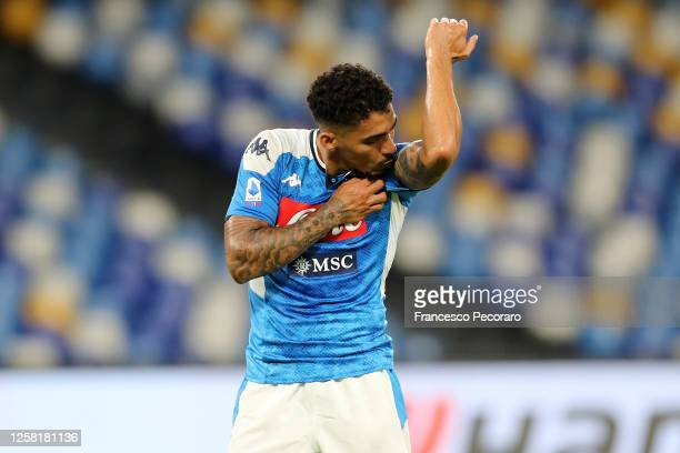 Allan of SSC Napoli celebrates after scoring the 2-0 goal during the Serie A match between SSC Napoli and US Sassuolo at Stadio San Paolo on July 25,...