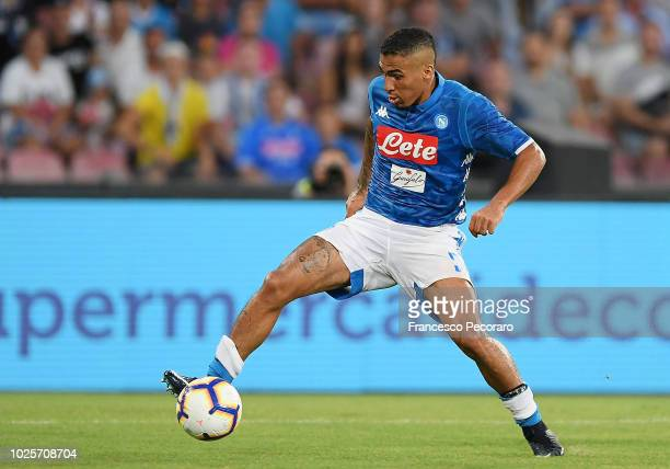Allan of SSC Napoli in action during the serie A match between SSC Napoli and AC Milan at Stadio San Paolo on August 25 2018 in Naples Italy