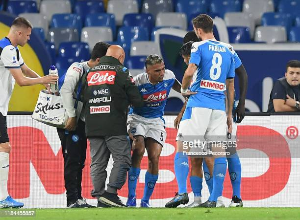 Allan of SSC Napoli injured during the Serie A match between SSC Napoli and Atalanta BC at Stadio San Paolo on October 30 2019 in Naples Italy