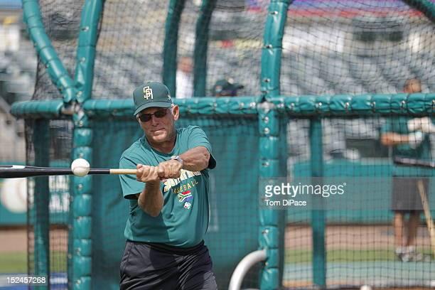 Allan Phillips of Team South Africa practices during the workout for the World Baseball Classic Qualifier at Roger Dean Stadium on September 17, 2012...