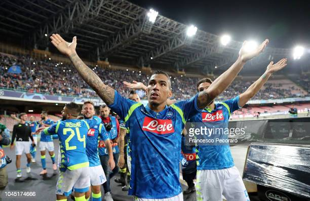 Allan player of SSC Napoli celebrates the victory after the Group C match of the UEFA Champions League between SSC Napoli and Liverpool at Stadio San...