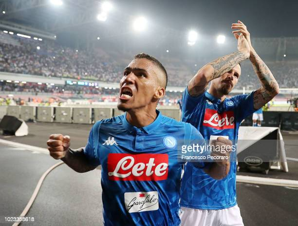 Allan player of SSC Napoli celebrates the victory after the serie A match between SSC Napoli and AC Milan at Stadio San Paolo on August 25 2018 in...