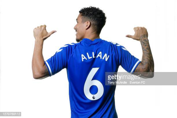 Allan poses for a photograph after signing for Everton at USM Finch Farm on September 4 2020 in Halewood, England.