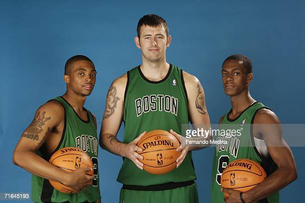 Allan Ray, Kevin Pittsnogle, and Rajon Rondo of the Boston Celtics pose for a portrait during the 2006 NBA Rookie Photo Shoot August 14, 2006 at the...