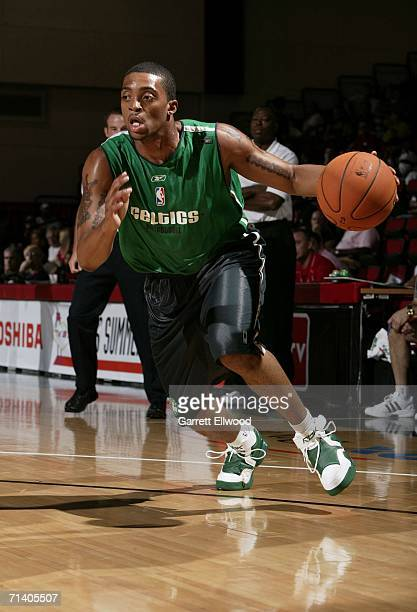 Allan Ray of the Boston Celtics drives against the Los Angeles Clippers during the 2006 Toshiba Vegas Summer League July 9 2006 at the Cox Pavilion...