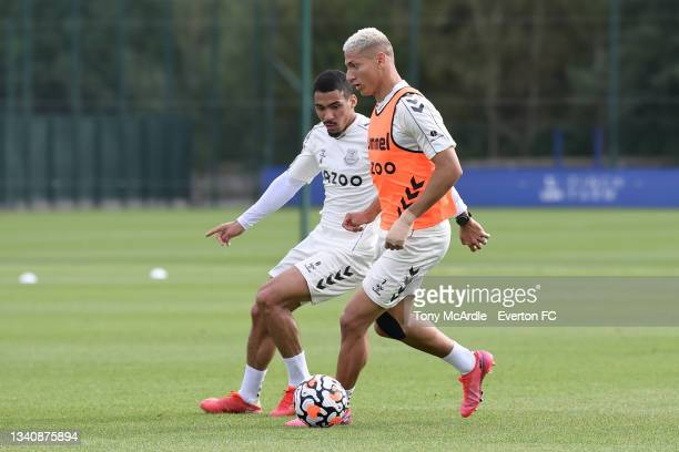 Allan Richarlison during the Everton Training Session at USM Finch Farm on September 16 2021 in Halewood, England.