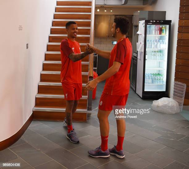 Allan Rodrigues de Souza and PedroChirivella of Liverpool during their first day back for preseason training at Melwood Training Ground on July 2...