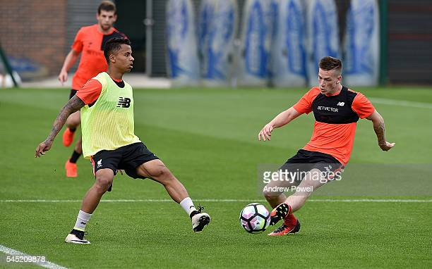 Allan Rodrigues De Souza and Ryan Kent of Liverpool during a training session at Melwood Training Ground on July 6 2016 in Liverpool England