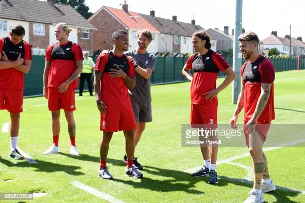 Allan Rodrigues de Souza Danny Ward Loris Kaius Alberto Moreno and Lazar Markovic of Liverpool during their first day back for preseason training at...