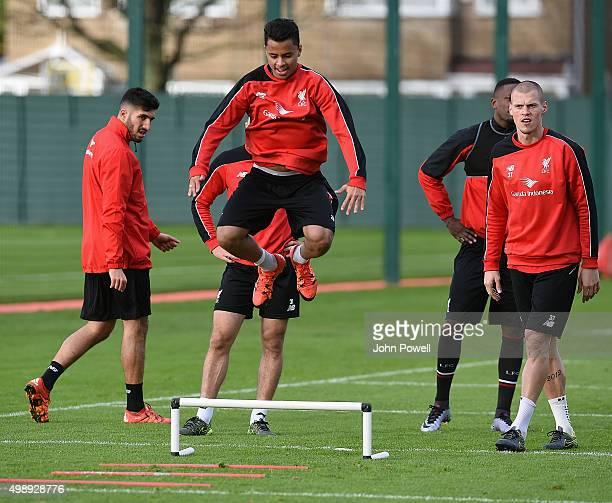 Allan Rodrigues de Souza of Liverpool during a training session at Melwood Training Ground on November 27 2015 in Liverpool England