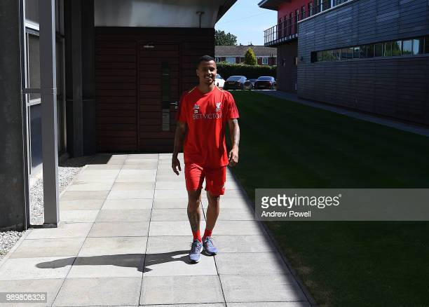 Allan Rodrigues de Souza of Liverpool during his first day back for preseason training at Melwood Training Ground on July 2 2018 in Liverpool England
